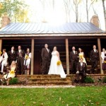 Log Home bridal party